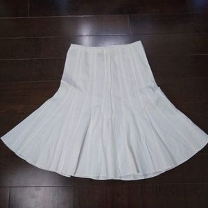 Larry Levine | White Pleated Flare Skirt